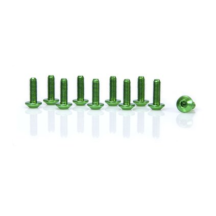 aluminium bolts, M5 x 15, multi teeths, anodized colours, set of 10