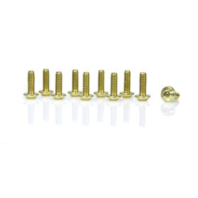 aluminium bolts, M5 x 15, multi teeths, set of 10, gold