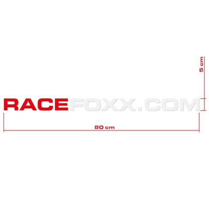 RACEFOXX.COM Decal Sheet, set of 2, red/white