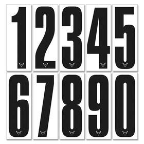 Race Number Sticker, set of 10, black