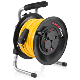 RACEFOXX Cable Drum with Armored Cable, 25 Metre