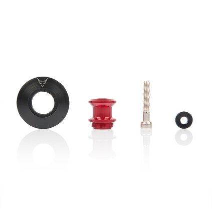 bobbins with swing arm protection, CNC milled, M8, red