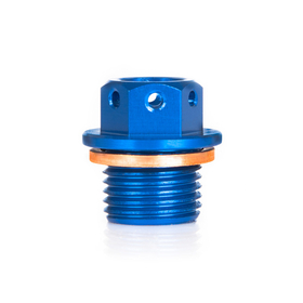 Oil plug with magnet, blue