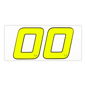 race number sticker set of 2, neon yellow, 1mm foam material