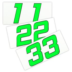 race number sticker set of 2, neon green, 1mm foam material
