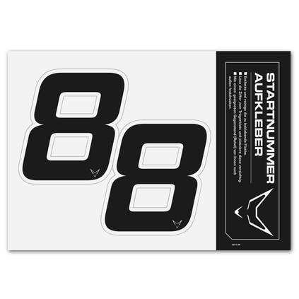 race number sticker set of 2, black