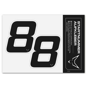 race number sticker set of 2, black, # 8