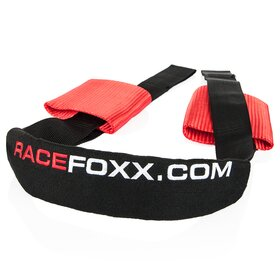Handlebar Tie-Down Belt, Racefoxx logo, red