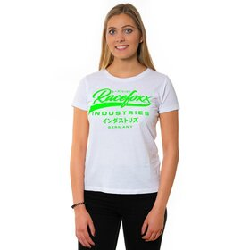 U-Neck T-Shirt LADIES weiss, Vintage Logo grün