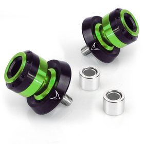 bobbins with slider, CNC milled, M8, anodized green
