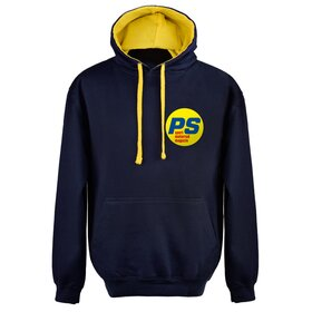 PS Hoodie BLUE/YELLOW, small logo